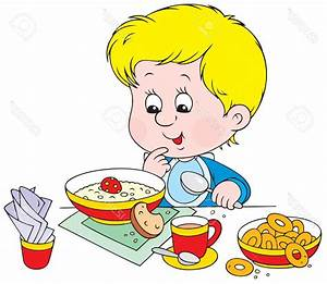 Breakfast clipart boy eating - Pencil and in color ...