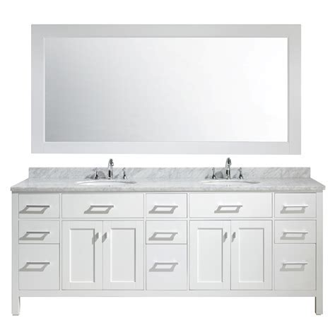 "London 84"" Double Sink Vanity Set in White Finish"