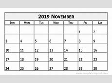 November 2019 Calendar Template calendar month printable