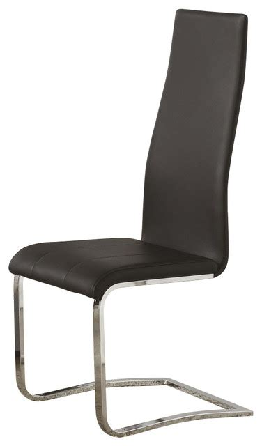 black faux leather dining chairs with chrome legs by