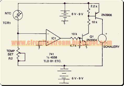 Simple Adjustable Threshold Temperature Alarm Circuit