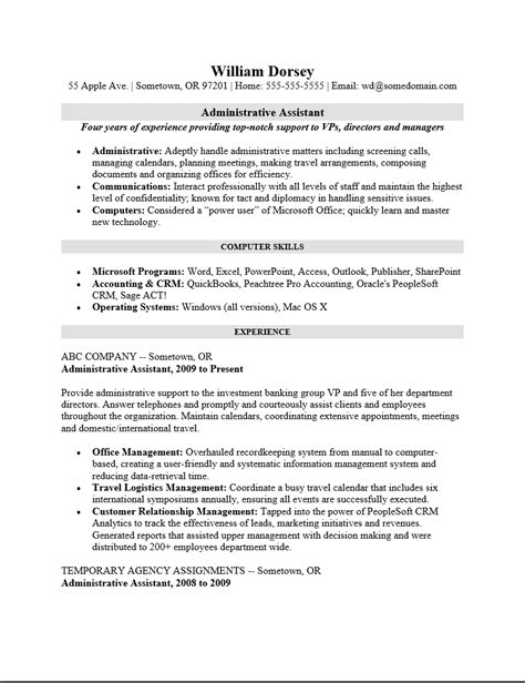 free professional administrative assistant resume template