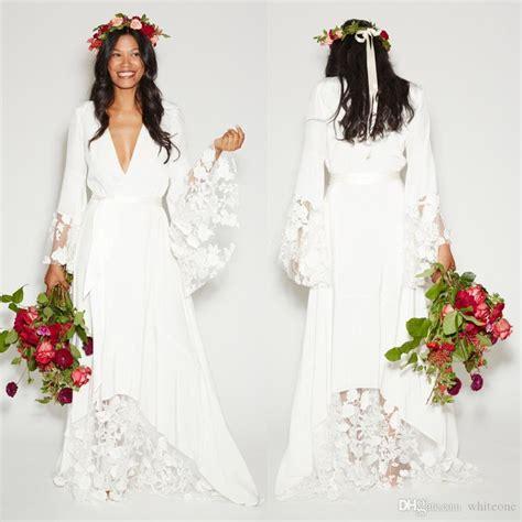 simple bohemian wedding dress long sleeves deep
