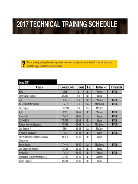 training schedule examples  samples