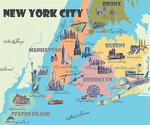 U0026quot New York City Ny Highlights Map U0026quot  Photographic Print By