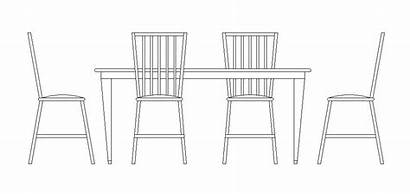 Dining Table Drawing Chairs Furniture Cad Kitchen