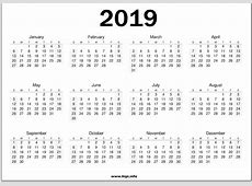 Printable 2019 Calendar On One Page Twitter Headers Covers