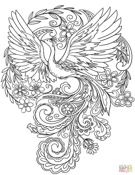 Peacock In Flowers Coloring Page Free Printable Coloring