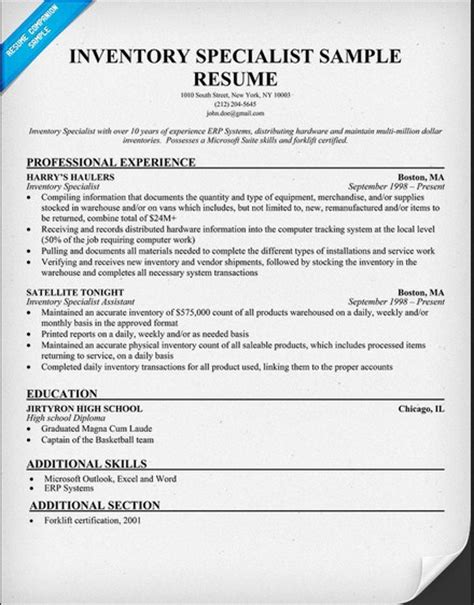 inventory specialist description resume resume sle resume format part 8
