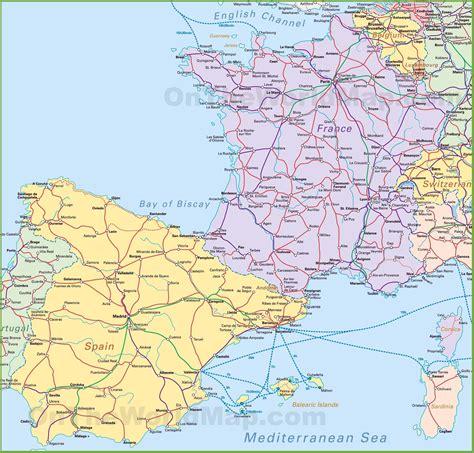 map  spain  france