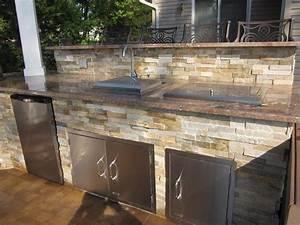 Outdoor, Kitchen, With, Dual, Bar, Top, Featuring, Outdoor, Fridge