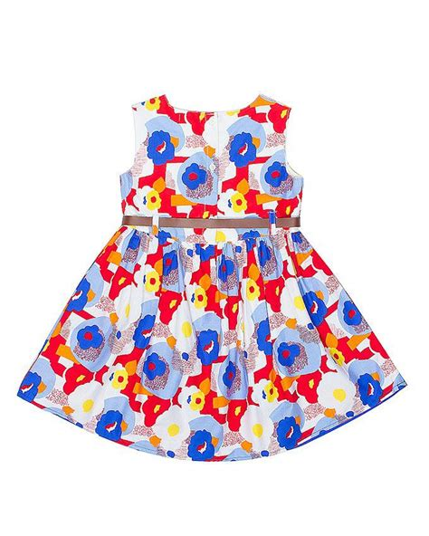 Brands 4 Kids Multi Color Cotton Printed Frock With Brown