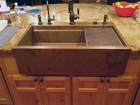 Retrofit Cabinet For Apron Sink by Copper Top Mount Drop In Farmhouse Sink By Rachiele