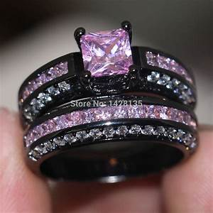 new jewelry engagement 10kt black gold filled pink gem 5a With black and pink wedding ring sets