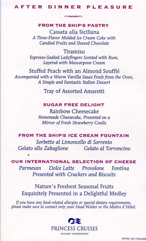 cruiseclues princess cruises princess dinner menus