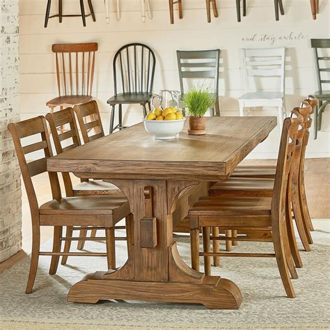 trestle table and chairs magnolia home by joanna gaines farmhouse seven piece