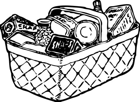 Picnic Basket Clipart Black And White