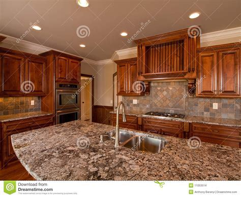 Luxury Home Dark Wood Kitchen With Countertop Stock Images