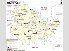 Thuringia Road Map, Road Map of Thuringia, Germany
