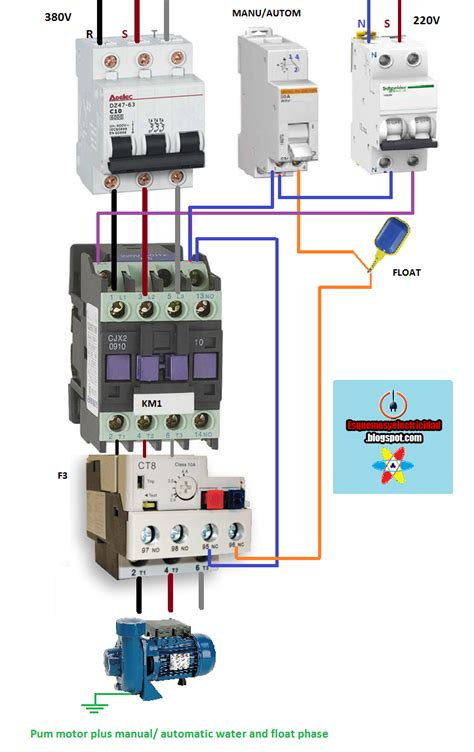 electrical diagrams pum motor plus manual automatic water and float p electricidad