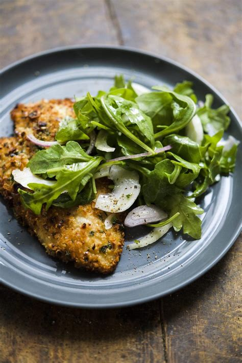 Layer thinly sliced chicken on the bottom of the sandwich, cover in marinara, then top with grated mozzarella and fresh basil leaves. Hazelnut-Crusted Chicken Cutlets with Arugula and Fennel Salad   Recipe   Fennel salad, Crusted ...
