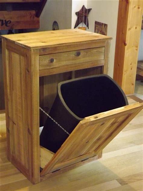 distressed reclaimed wood crate tilt  trash bin