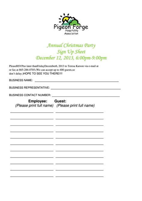 sample christmas party sign  sheet template printable