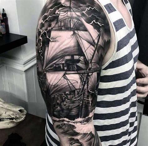 nautical sleeve tattoos  men seafaring ink deisgn