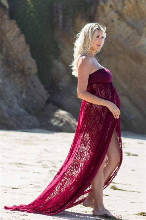 pink strapless lace maternity photoshoot gowndress