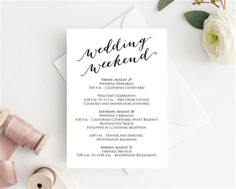 wedding weekend itinerary template wedding weekend timeline