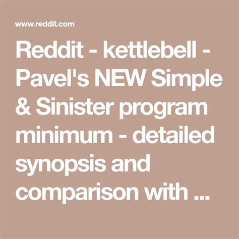 sinister simple program kettlebell minimum comparison pavel reddit synopsis etk detailed larepublica pe guardado desde amp