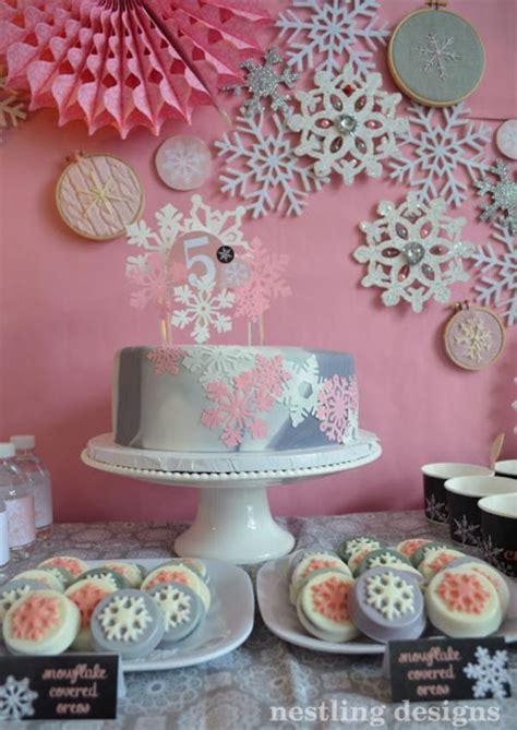 Kara's Party Ideas Snowflake Winter Girl 5th Birthday