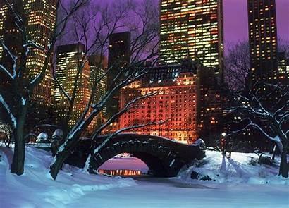 York Christmas Winter Night Nyc Central Park