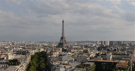 ultra hd  aerial view eiffel tower paris skyline city