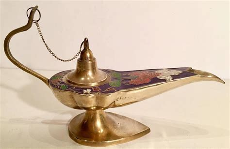 mid century brass and cloisonne genie oil l incense