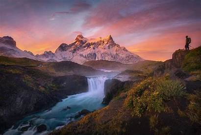 Nature Cool Landscape Mountain Waterfall Desktop River