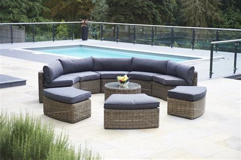 9 mayfair curved modular rattan garden furniture set