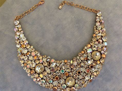 Wedding Jewelry Gold : Rose Gold Bridal Statement Necklace