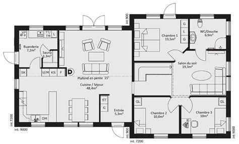 plan maison rdc 3 chambres plan maison bois plain pied gallerie maisons bois