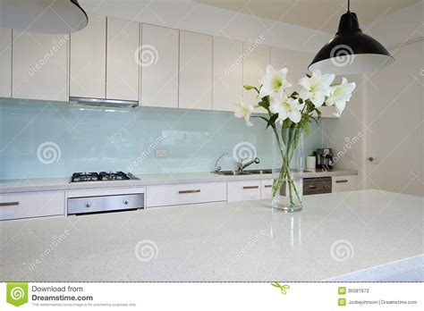 kitchen with island bench flowers on contemporary kitchen bench stock photos image 6519