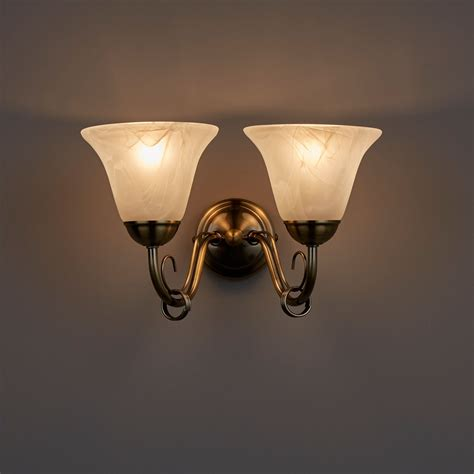 manor alabaster brass effect double wall light