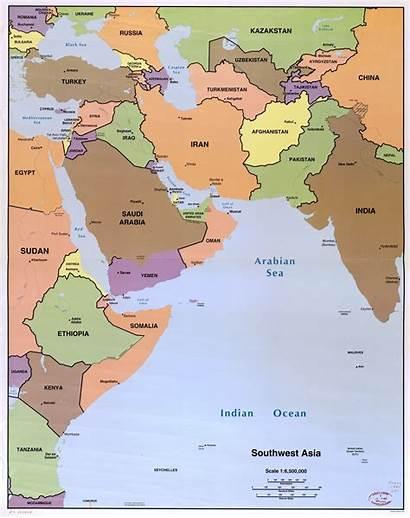 Asia Southwest Map Capitals Political Scale 1996