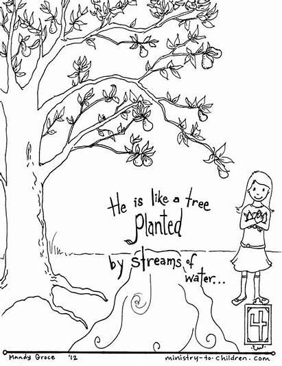 Coloring Water Planted Children Streams Psalm Pslam