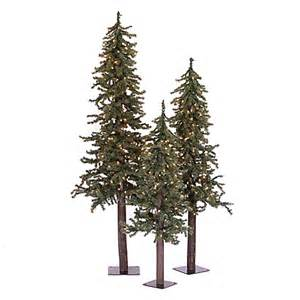 buy vickerman 3 piece 2 3 4 foot natural alpine pre lit christmas tree set with multi lights