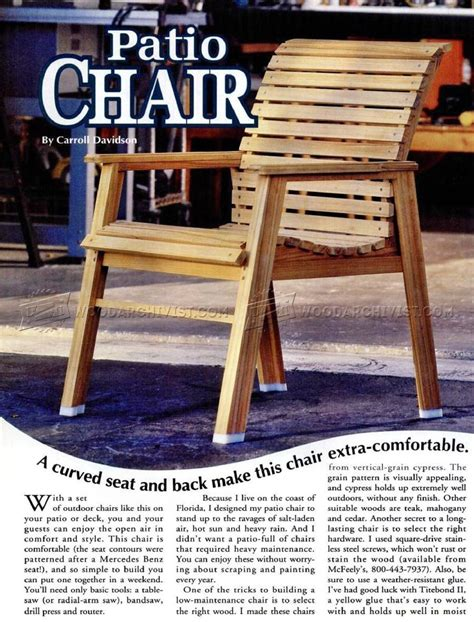 patio chair plans outdoor furniture plans