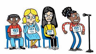 Spelling Bee National Words Dance Illustration Numbers
