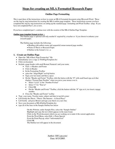mla format outline template exle essay in mla format najmlaemah
