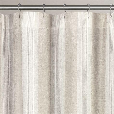 vintage stripe washed belgian linen shower curtains