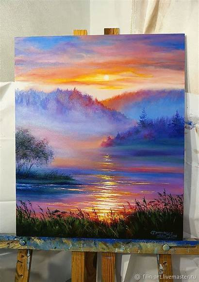 Painting Acrylic Oil Lavender Canvas