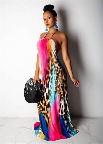 Halter Maxi Elegant Colorful Trendy Ladies Cocktail